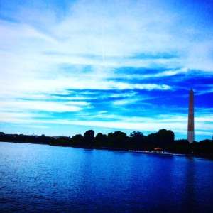 The Potomac river and the Washington monument
